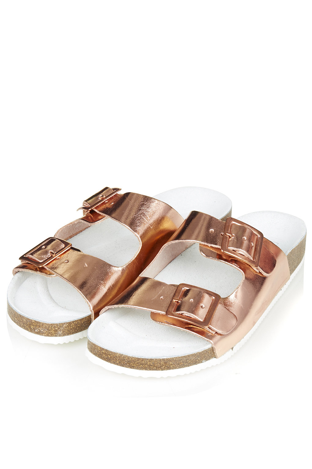 Lyst Topshop Fancie Double Buckle Sandals Rose Gold In Pink