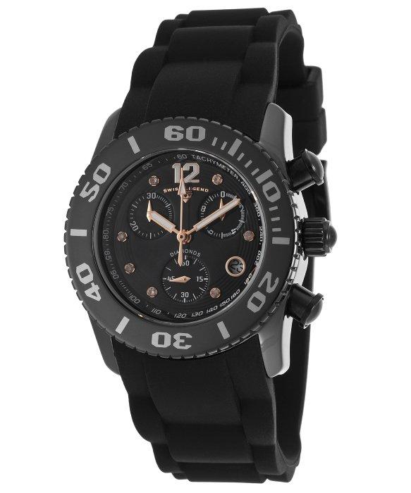 Swiss legend commander diamonds chronograph black silicone for Commander rose