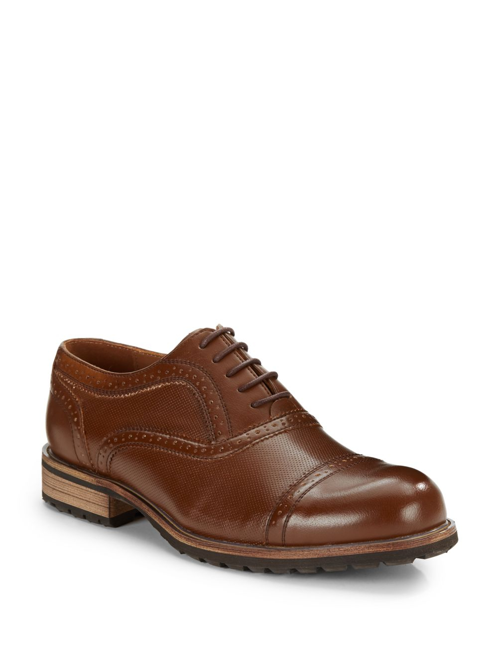 steve madden perforated brogue dress shoes in brown for