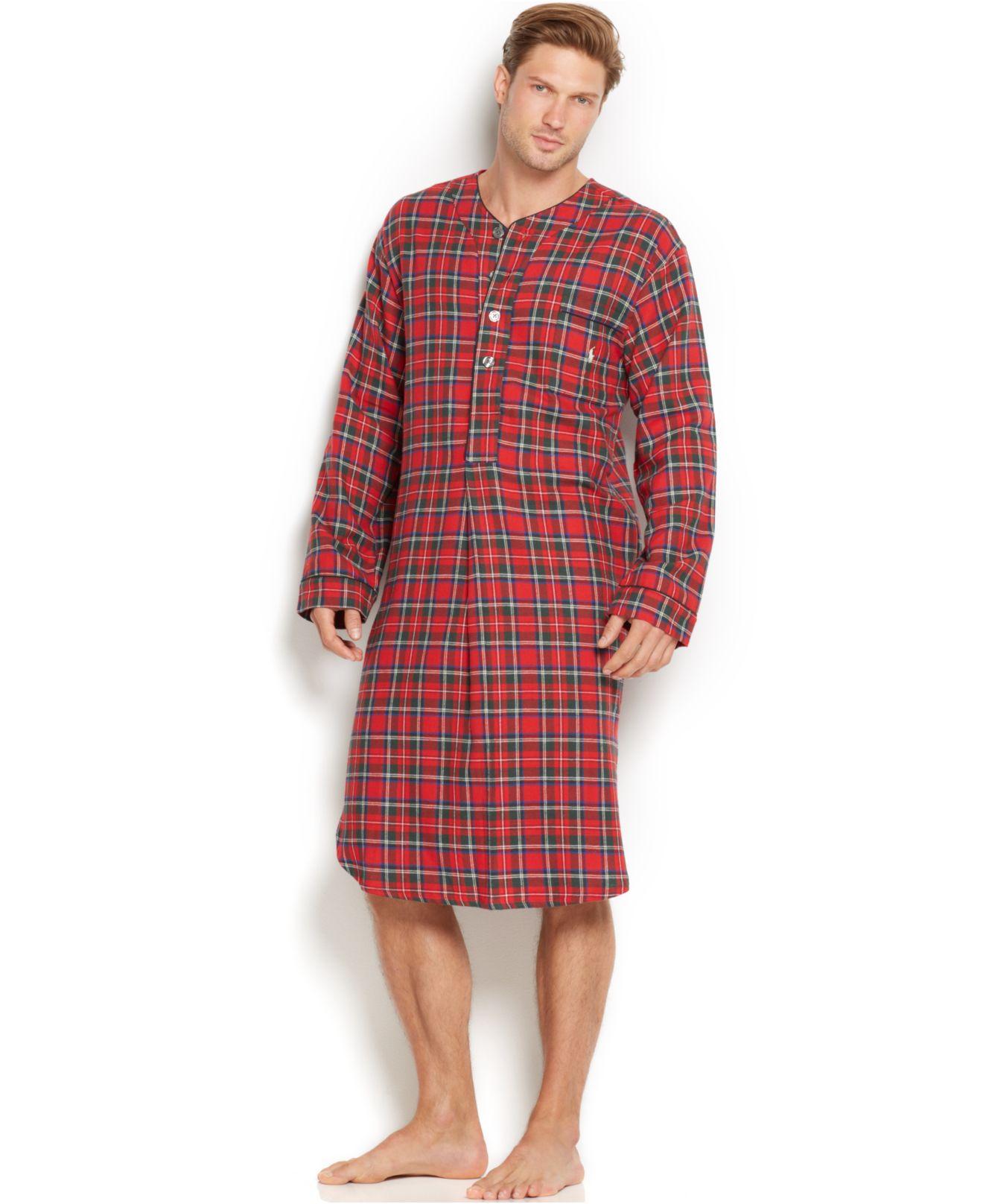 Lyst - Polo Ralph Lauren Men\'S Plaid Flannel Pajama Nightshirt in ...