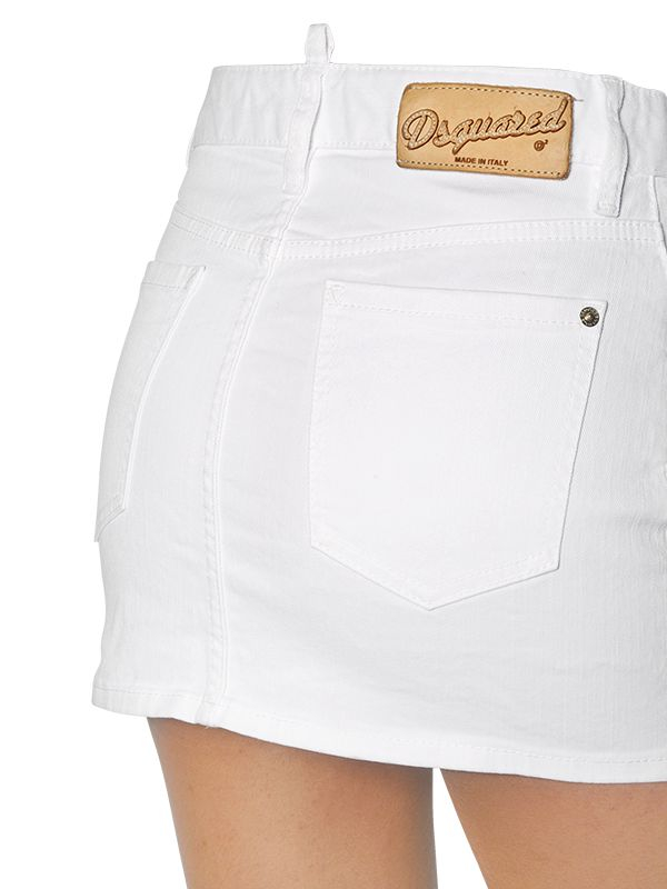 Dsquared² Dalma Fit Stretch Denim Mini Skirt in White | Lyst