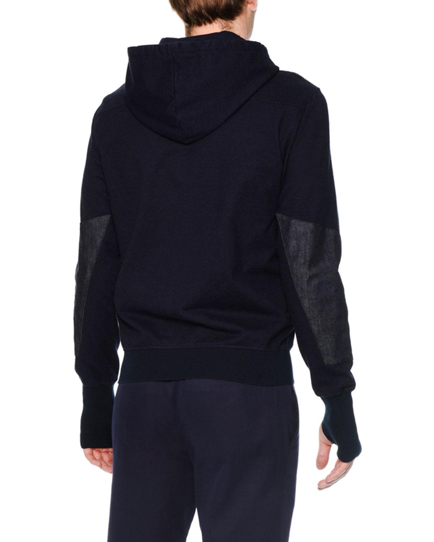 alexander mcqueen denim front zip up hoodie in blue for men lyst. Black Bedroom Furniture Sets. Home Design Ideas
