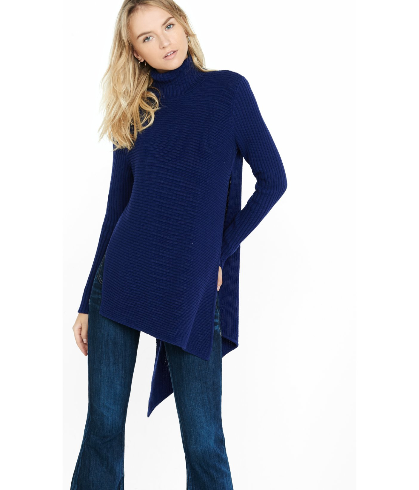 Express Mixed Knit High Slit Turtleneck Sweater in Blue | Lyst