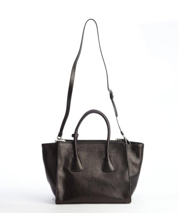 Lyst - Prada Black Grained Leather Twin Pocket Tote Bag in Black d897cffaf7661