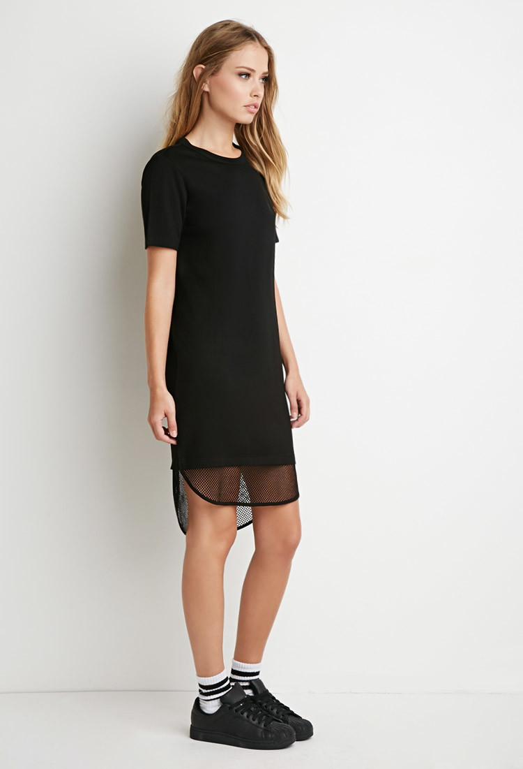 Lyst Forever 21 Mesh Hem T Shirt Dress In Black