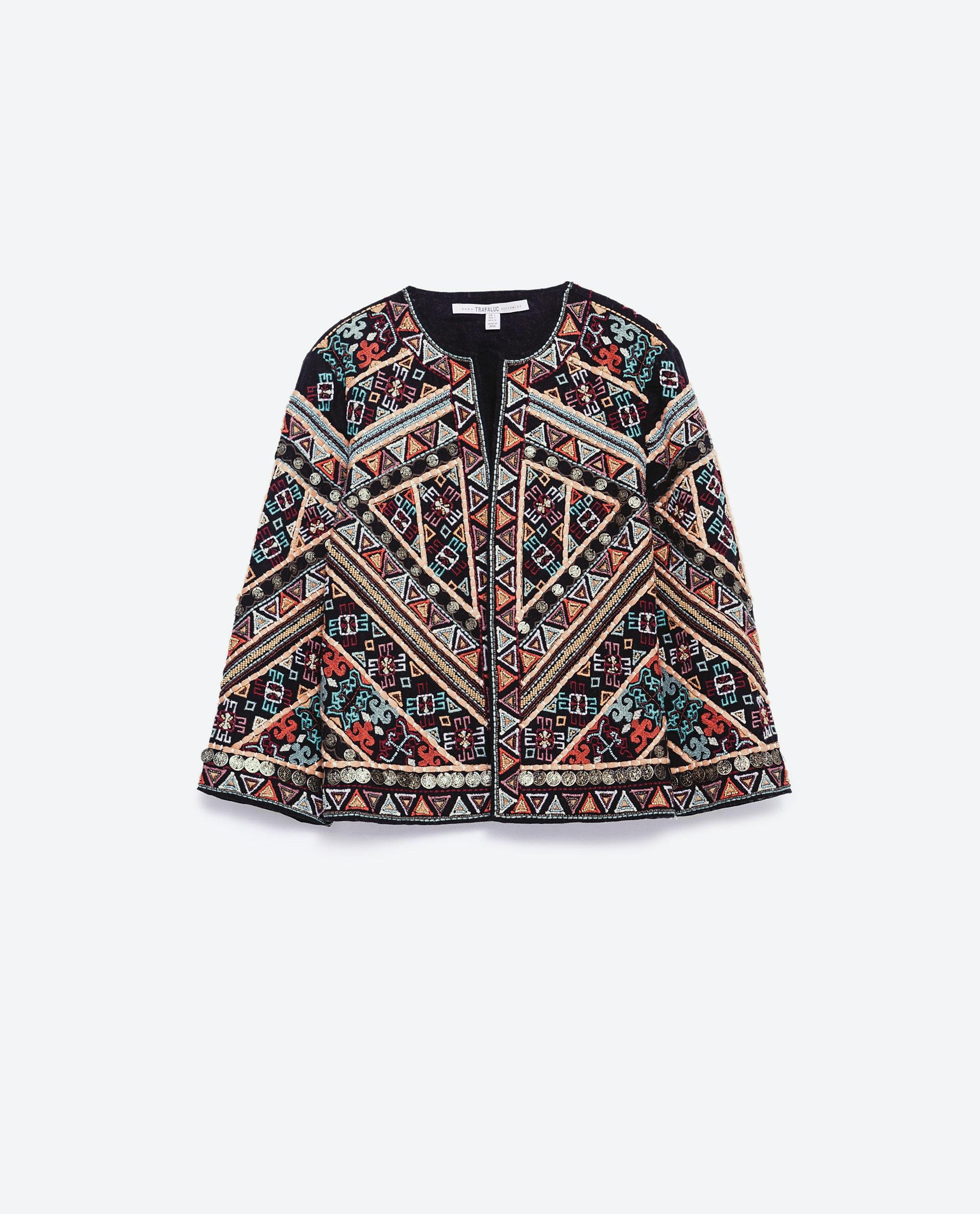 Zara embroidered jacket in black lyst
