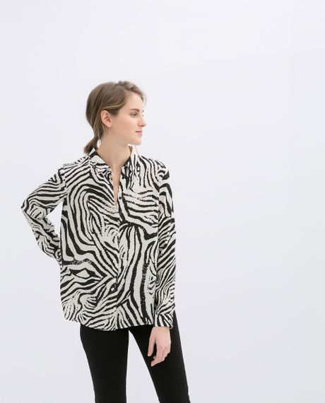 Zara Zebra Blouse 44