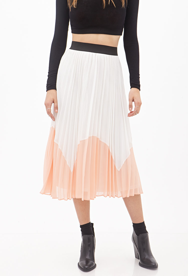 4459040b1a Forever 21 Accordion-pleated Colorblock Midi Skirt in Natural - Lyst