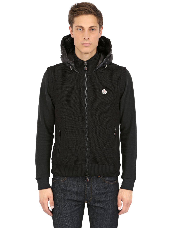 moncler black nylon knit hoodie