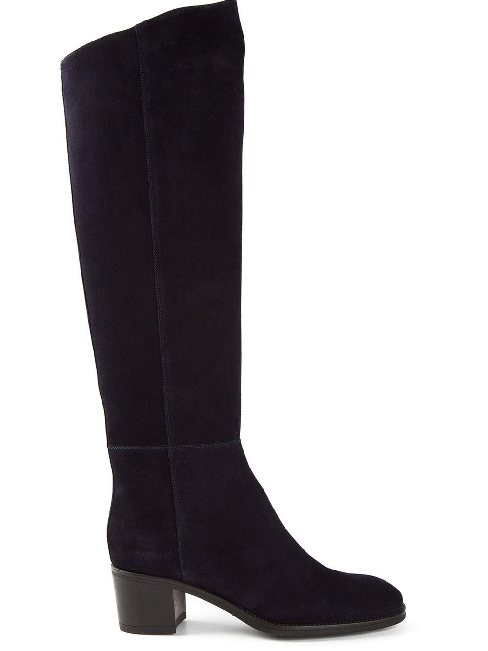 santoni knee length block heel boots in black lyst