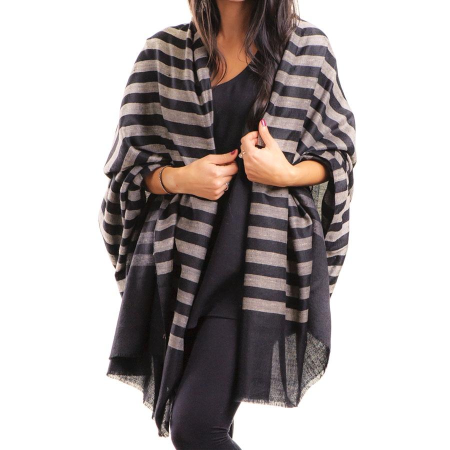 Black.co.uk Black And Ivory Striped Cashmere Shawl