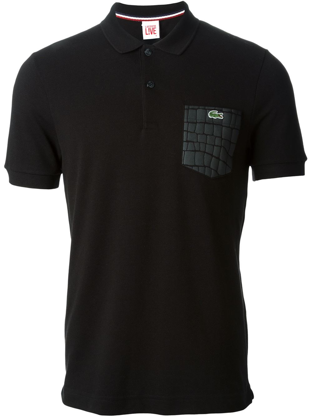 Lyst lacoste l ive embossed pocket polo shirt in black for Two pocket polo shirt