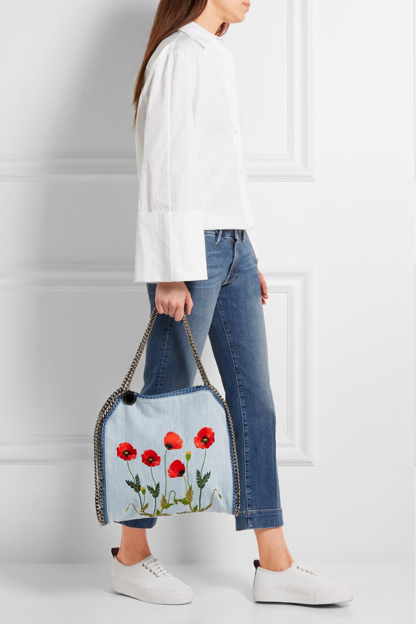 032fb7dede44 Stella McCartney The Falabella Large Embroidered Denim Shoulder Bag ...