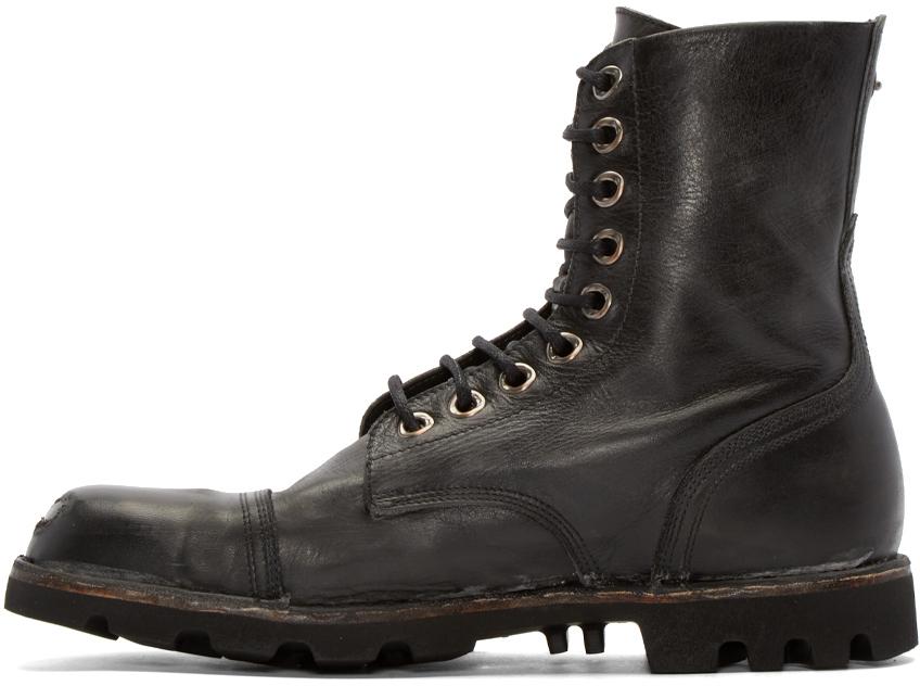 Lyst - DIESEL Black Leather Steel Boots in Black for Men