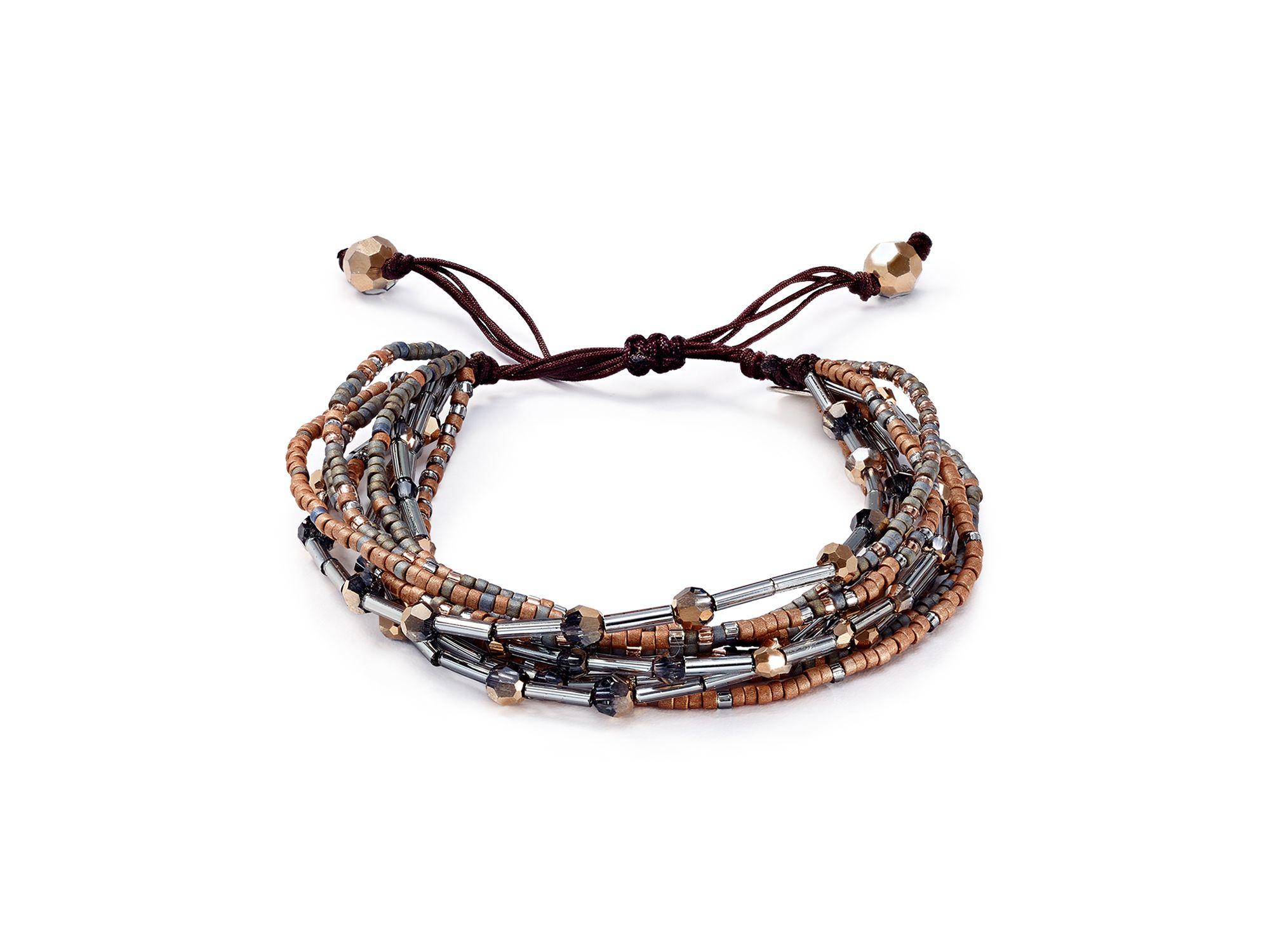 Chan luu Beaded Pull-tie Bracelet in Metallic