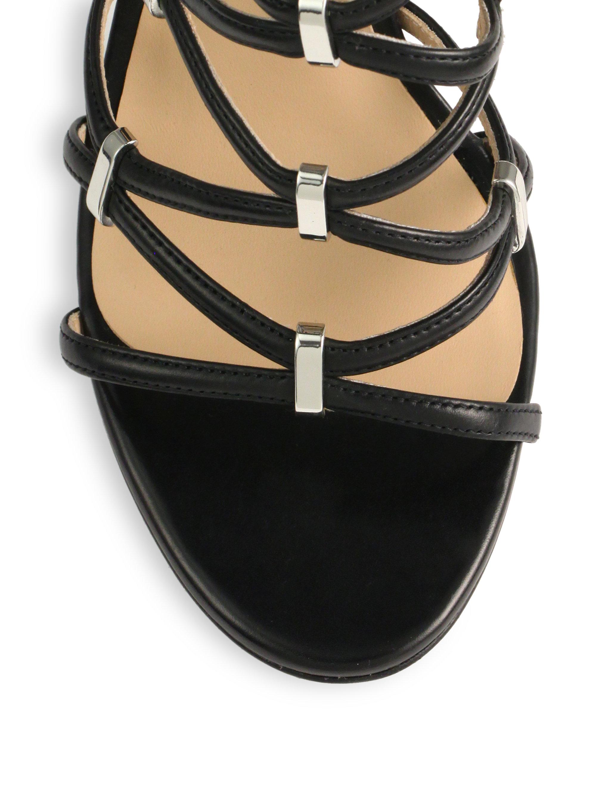 9ea379fe0400 Lyst - Michael Kors Charlene Leather Sandals in Black