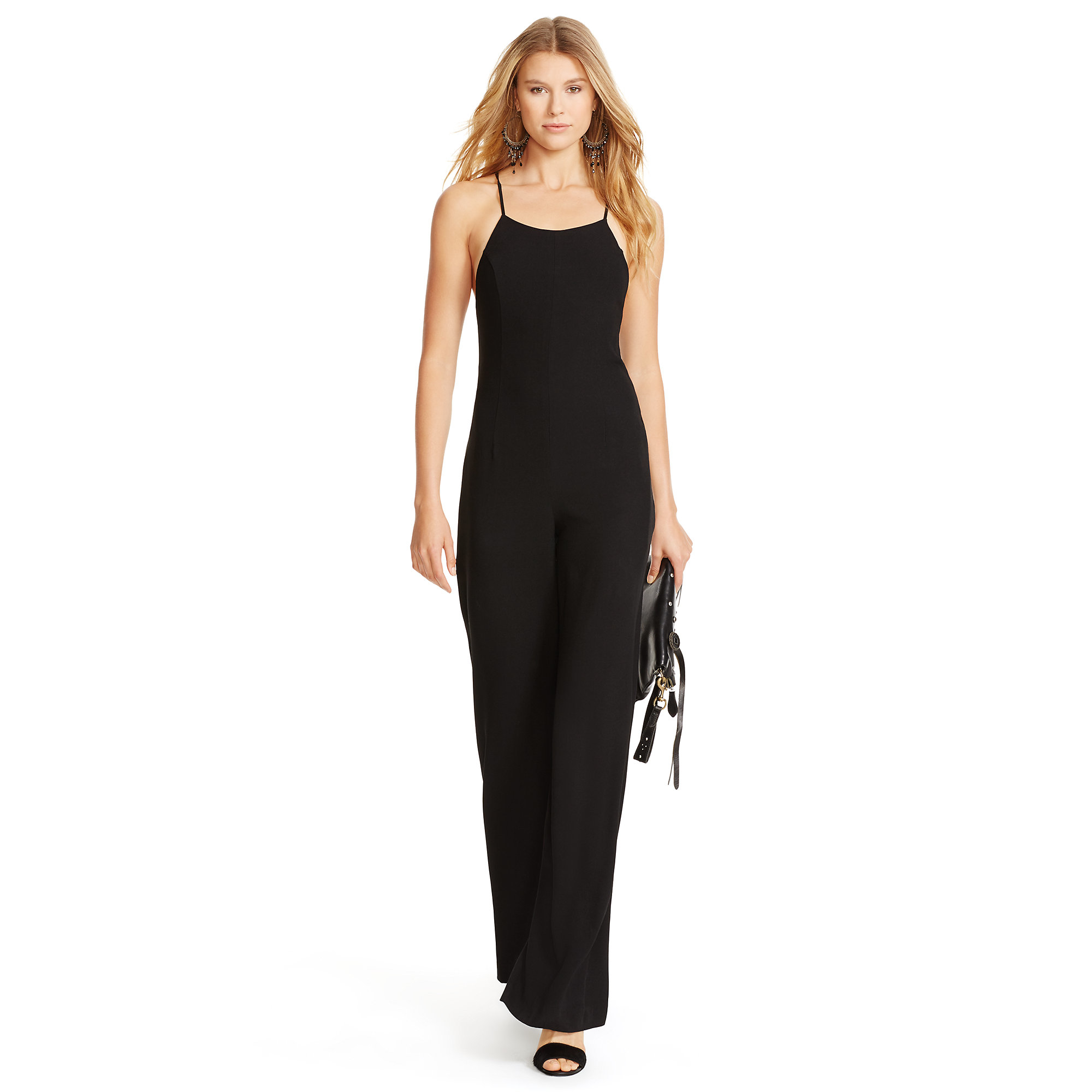 d6d64f19419 Lyst - Polo Ralph Lauren Wide-leg Open-back Jumpsuit in Black
