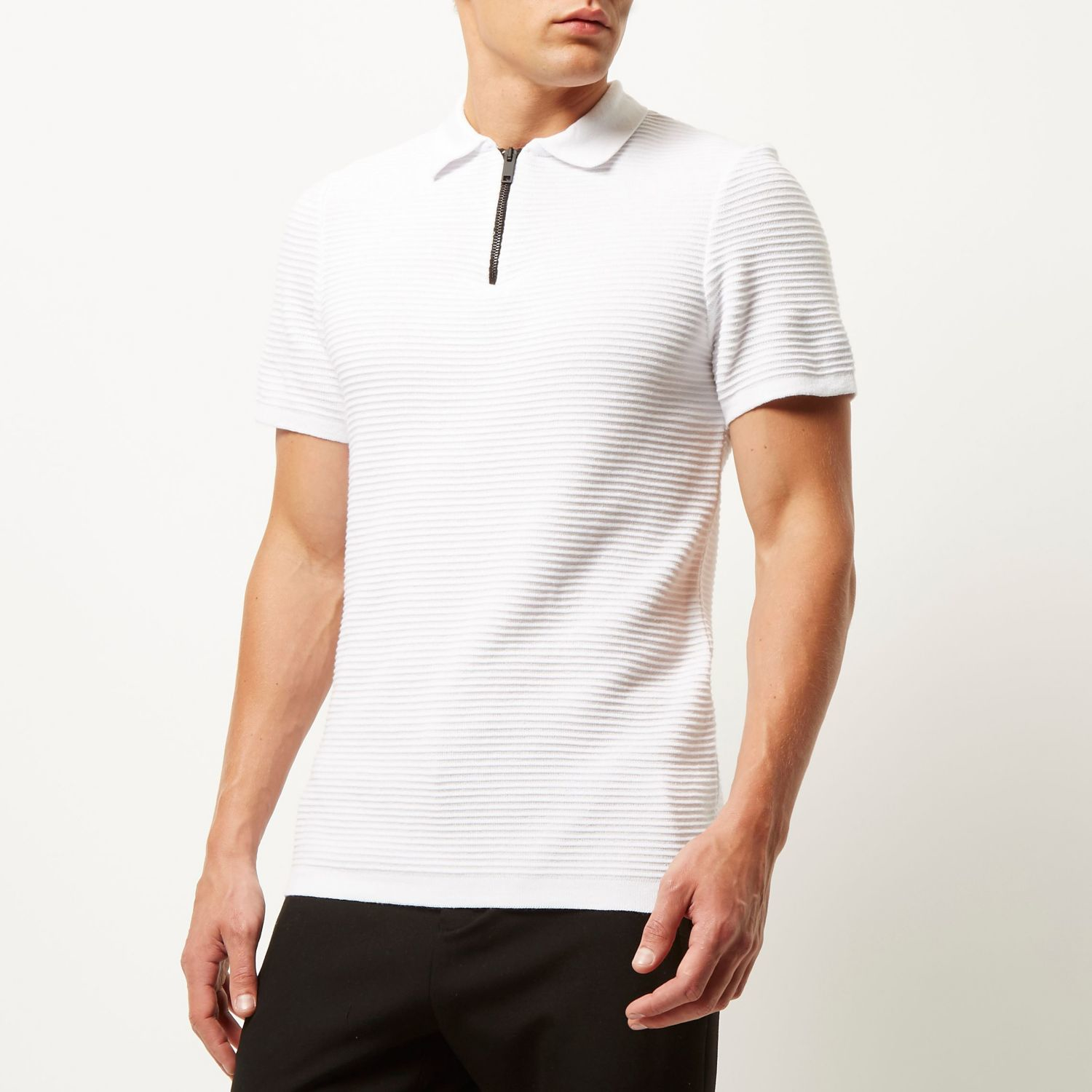 Mens Green zip slim fit polo shirt River Island Cheap Low Shipping Fee Best Store To Get Sale Online Shipping Outlet Store Online vkxHwMJJ50