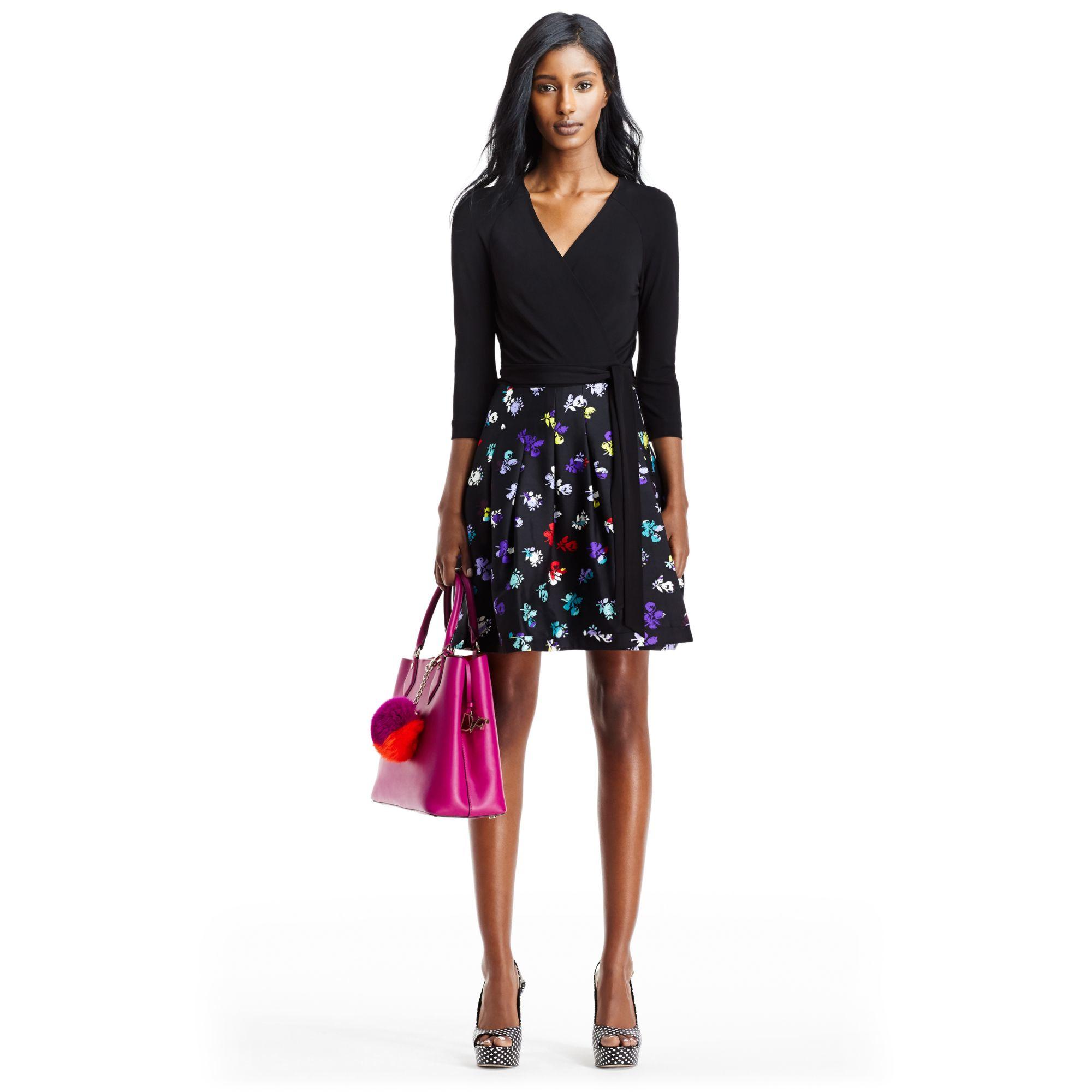 Diane Von Furstenberg Dvf Jewel Silk Combo Wrap Dress In