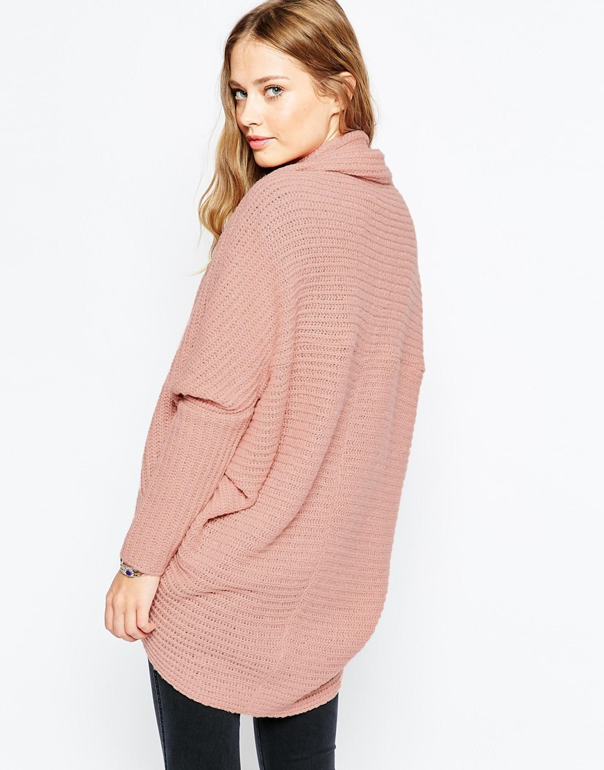 Asos Chunky Cardigan In Cocoon Shape in Pink | Lyst