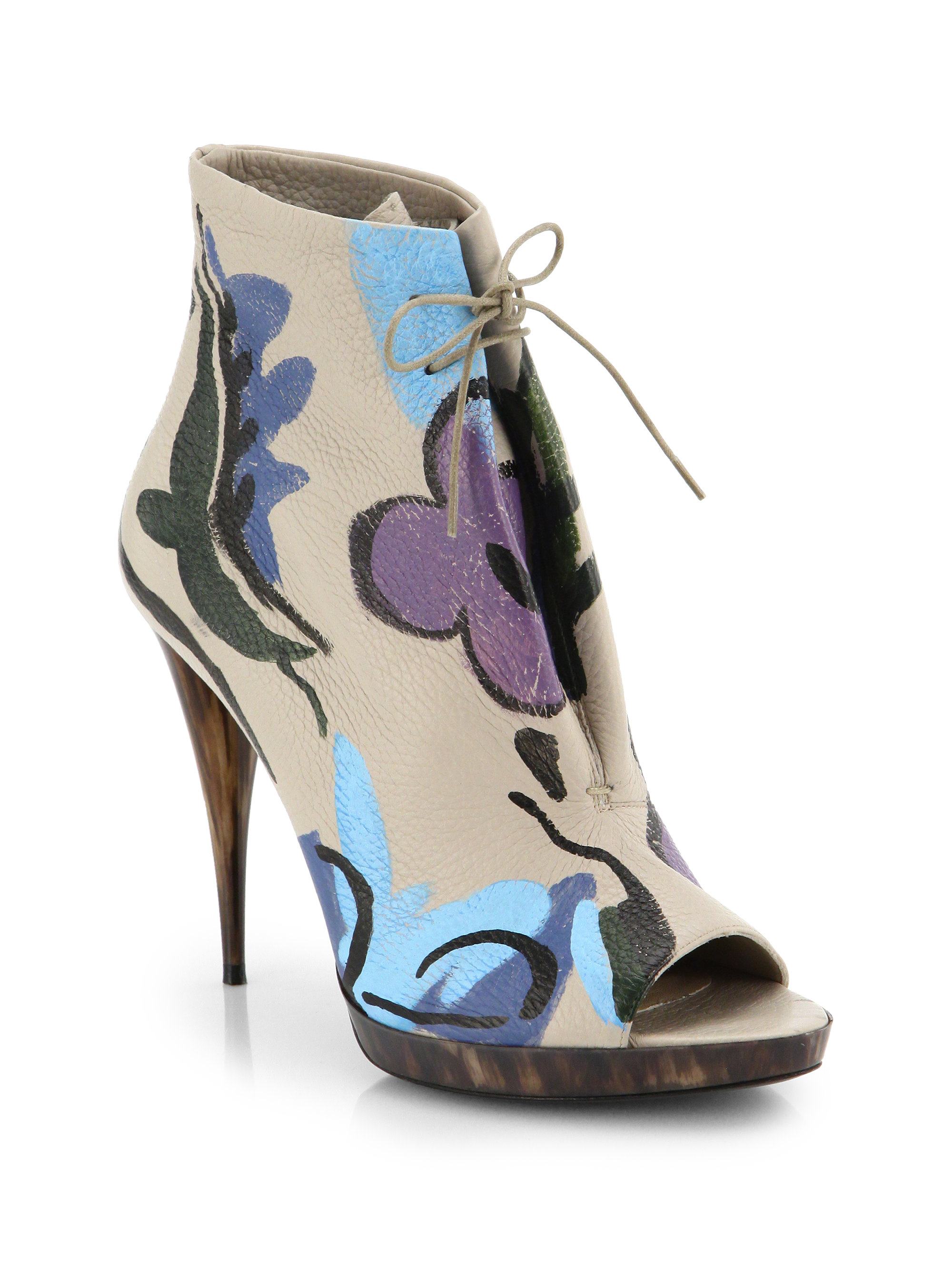 aa76294d3bf Lyst - Burberry Prorsum Hand-Painted Leather Peep-Toe Booties in Natural