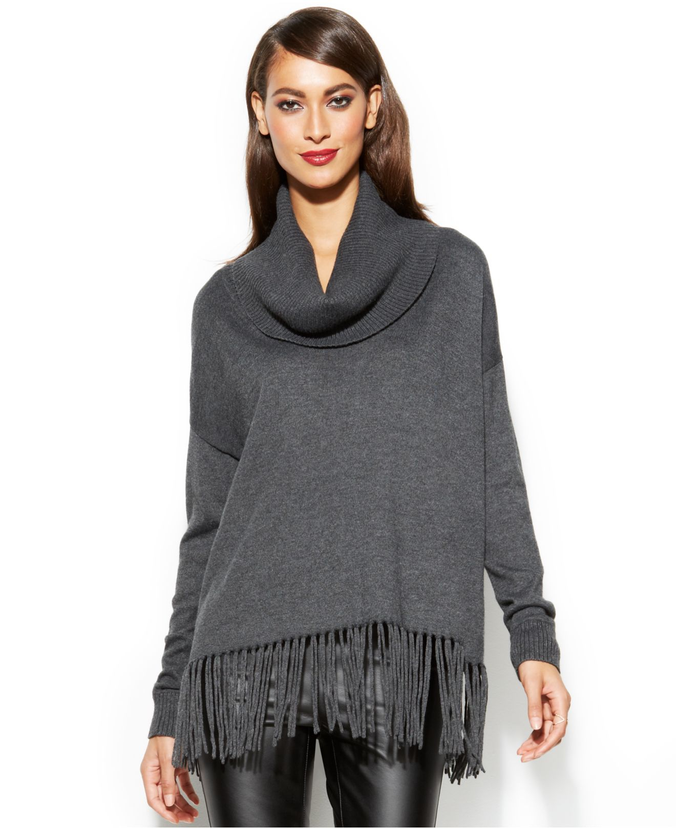 Michael kors Michael Cowl-Neck Fringe Sweater in Gray | Lyst