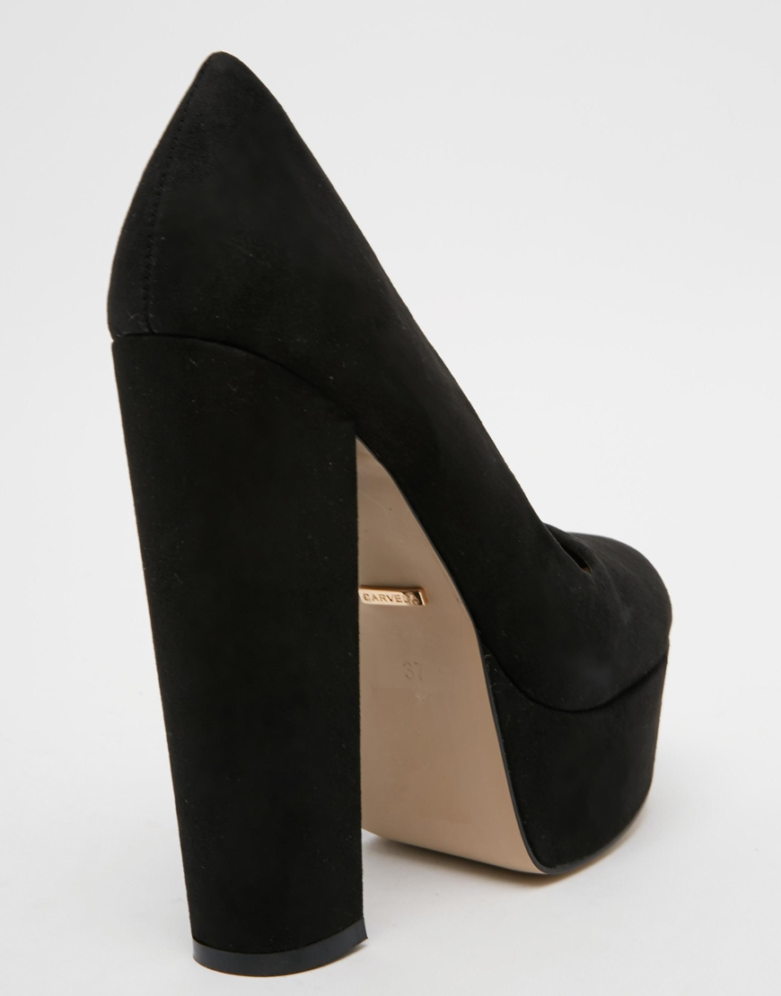 Carvela kurt geiger Ariel Black Platform Court Shoes in Black | Lyst