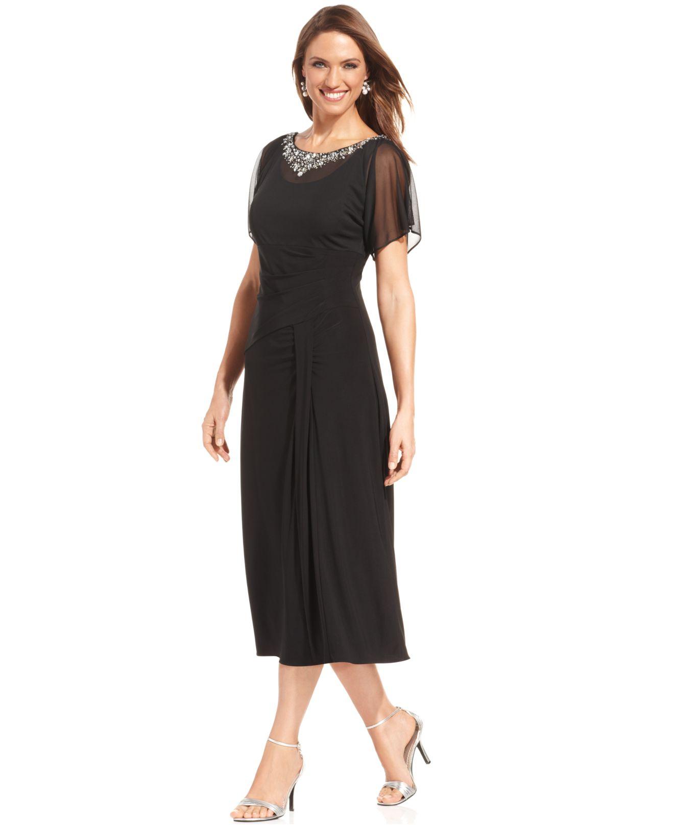 acb70d01a6c Lyst - Alex Evenings Petite Flutter-Sleeve Embellished Dress in Black