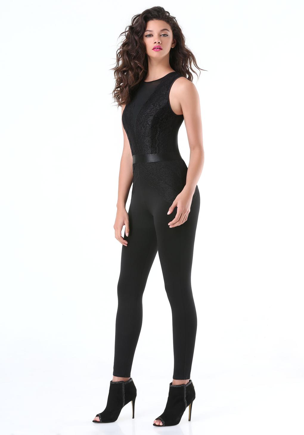 9543110698 Bebe Petite Lace Panel Jumpsuit in Black - Lyst