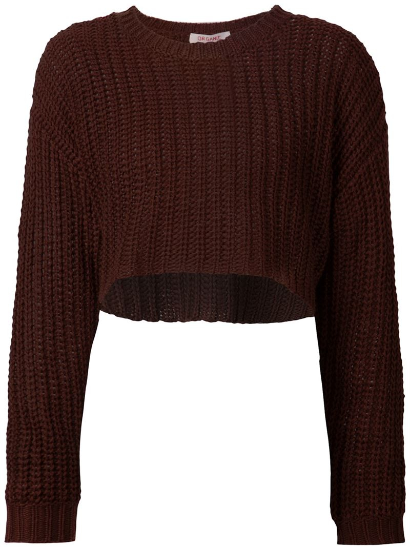 Organic by john patrick Cropped Chunky Knit Sweater in Brown | Lyst