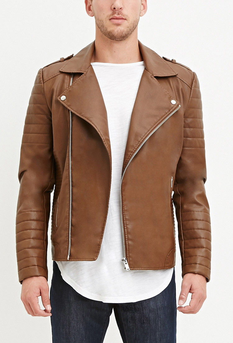 Brown leather jacket forever 21