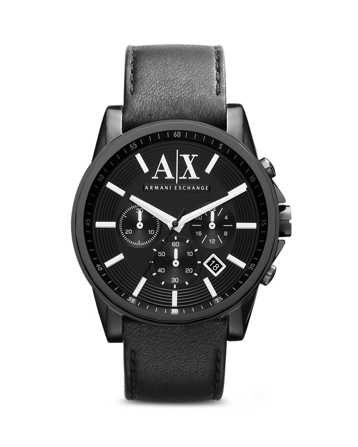 Armani exchange a x armani exchange leather strap chronograph watch 45mm in black for men lyst for Armani exchange watches