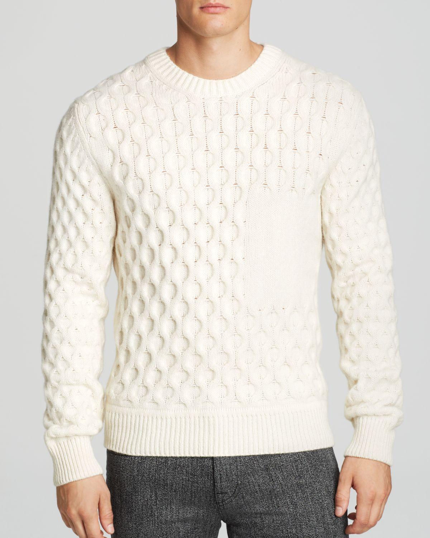 Kent & curwen Aran Sweater in White for Men   Lyst