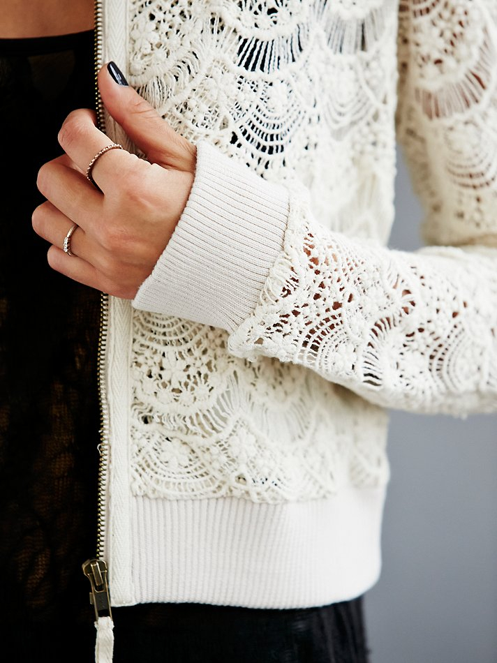 Free People Womens Lace Bomber Jacket in White - Lyst