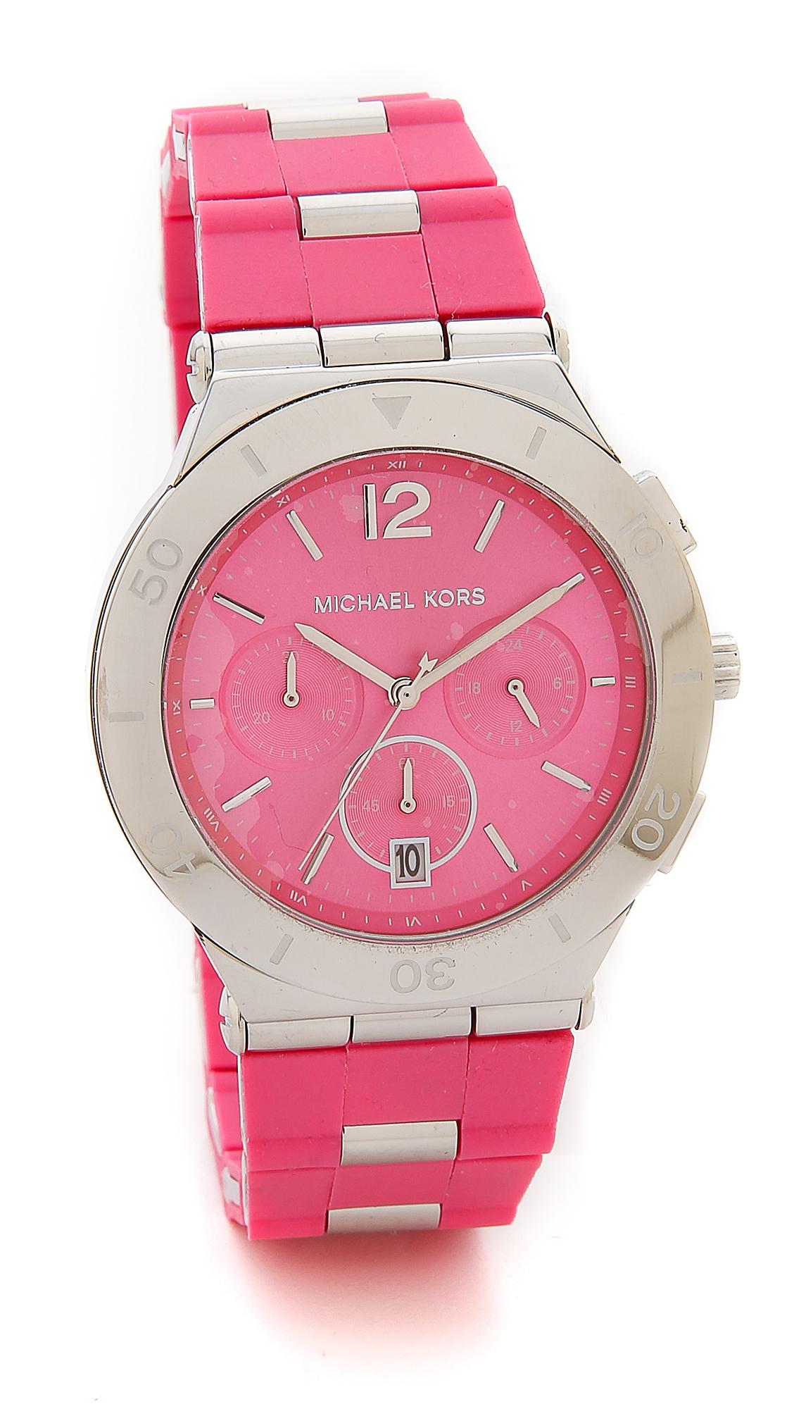 bfcbb530a1fa Michael Kors Wyatt Watch - Silver pink in Pink - Lyst