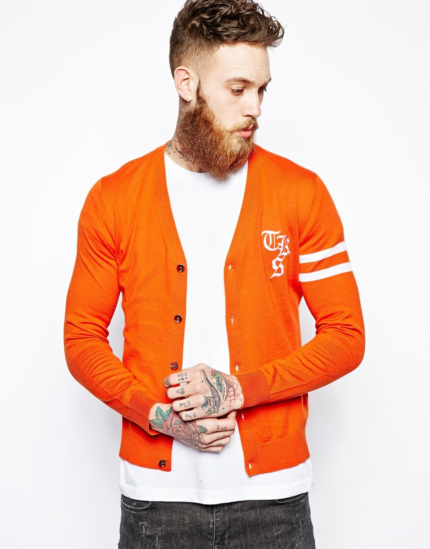 The kooples sport Cardigan with Logo and Stripe Sleeve in Orange ...