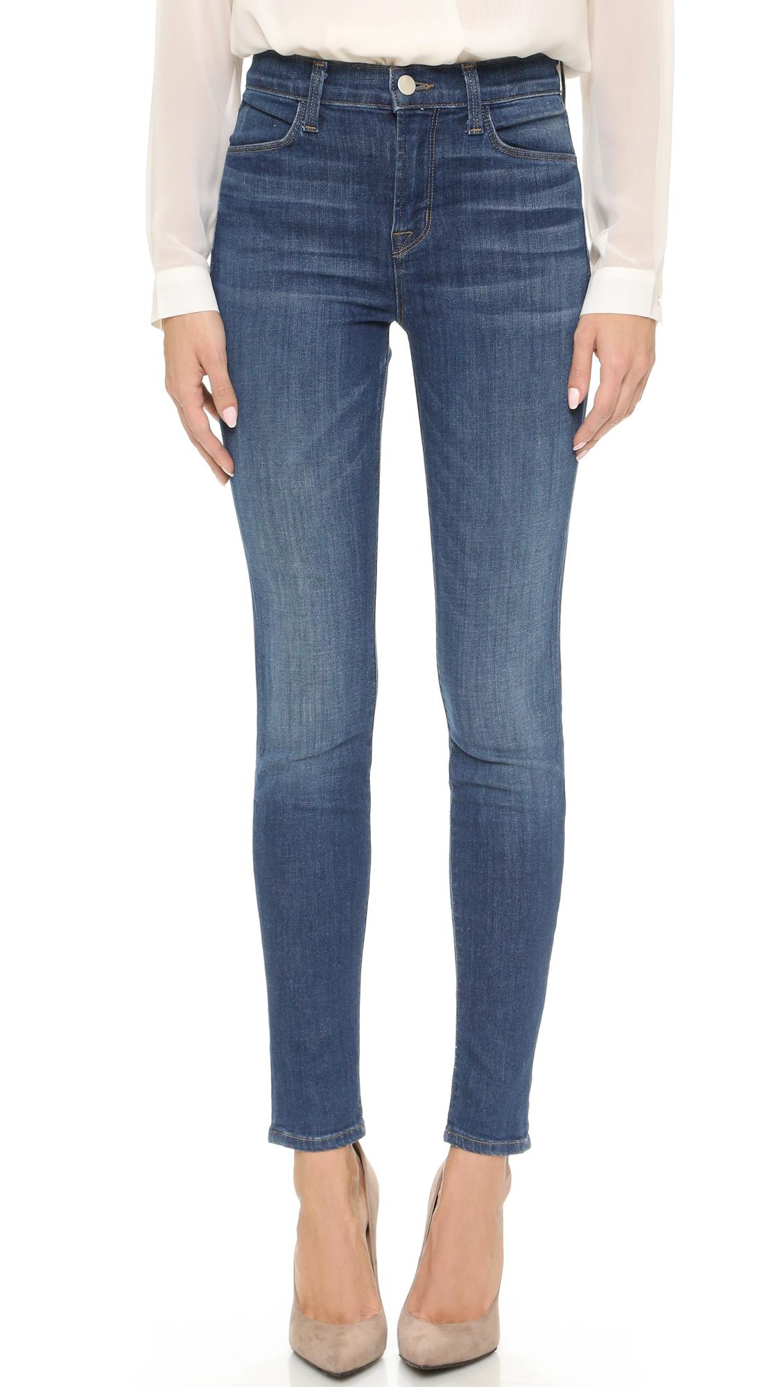 j brand maria high rise skinny jeans in blue lyst. Black Bedroom Furniture Sets. Home Design Ideas