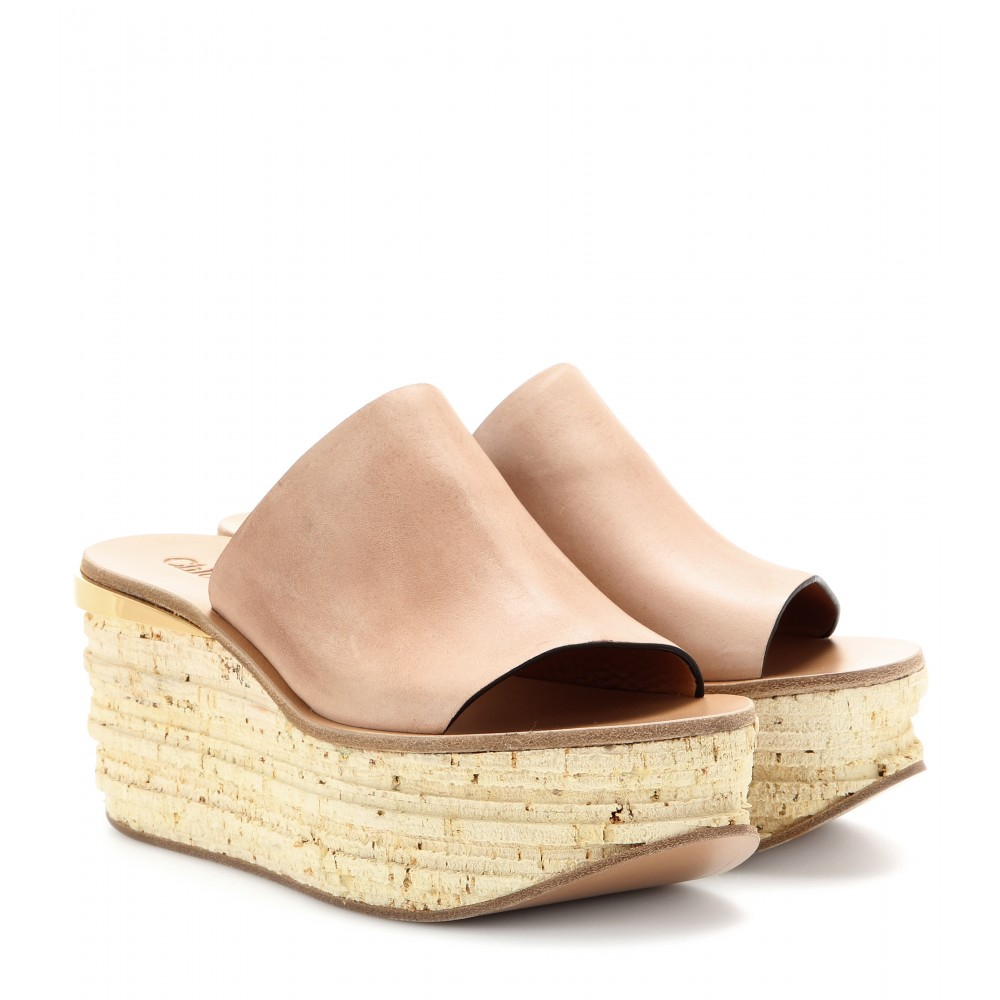 Lyst Chlo 233 Camille Leather Cork Wedge Mules In Pink