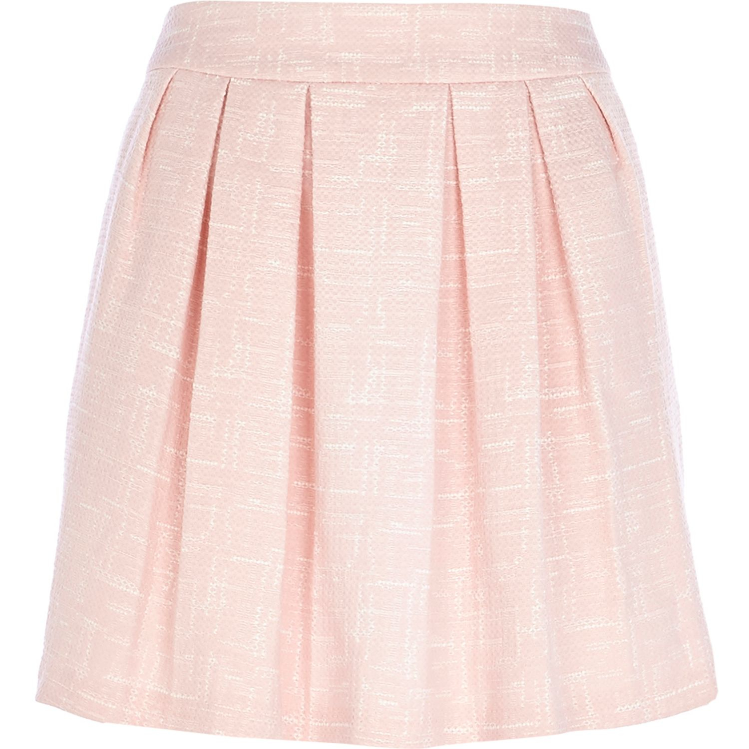 River island Light Pink Jacquard Pleated Mini Skirt in Pink | Lyst