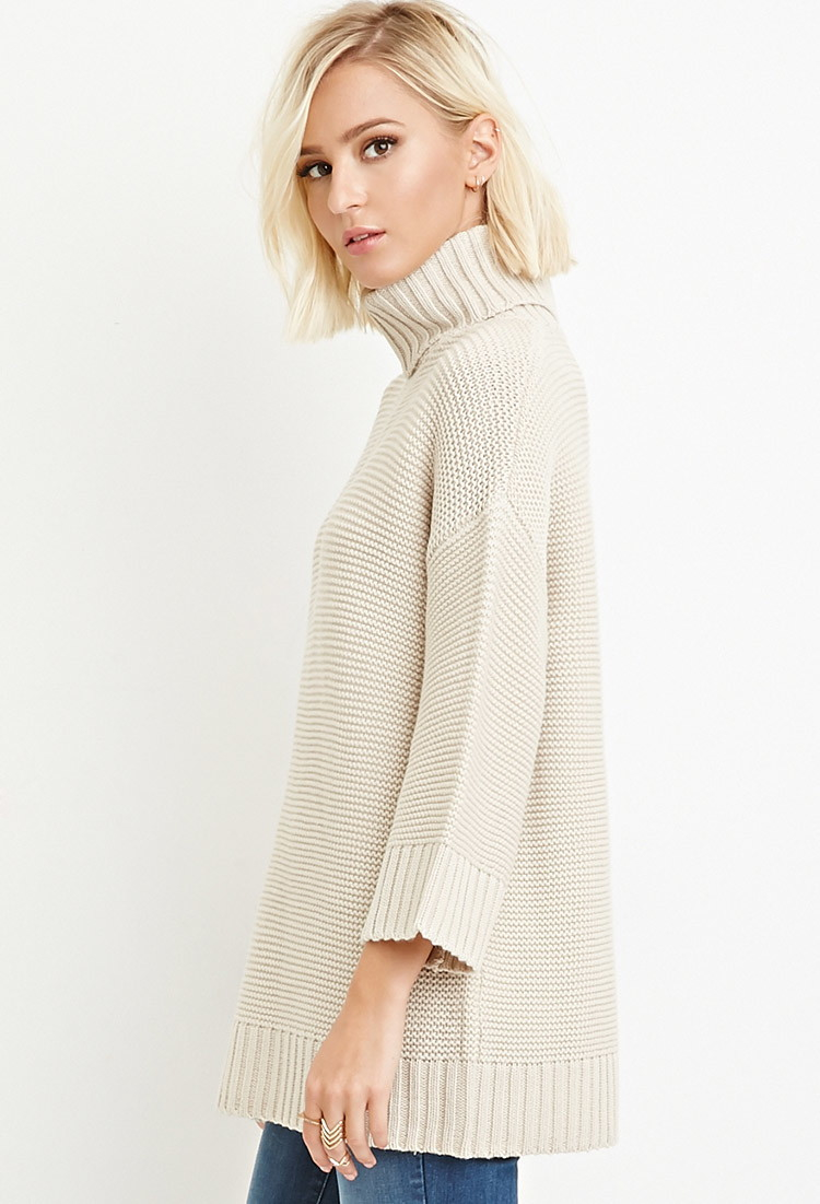 Forever 21 Textured Turtleneck Sweater in Natural | Lyst