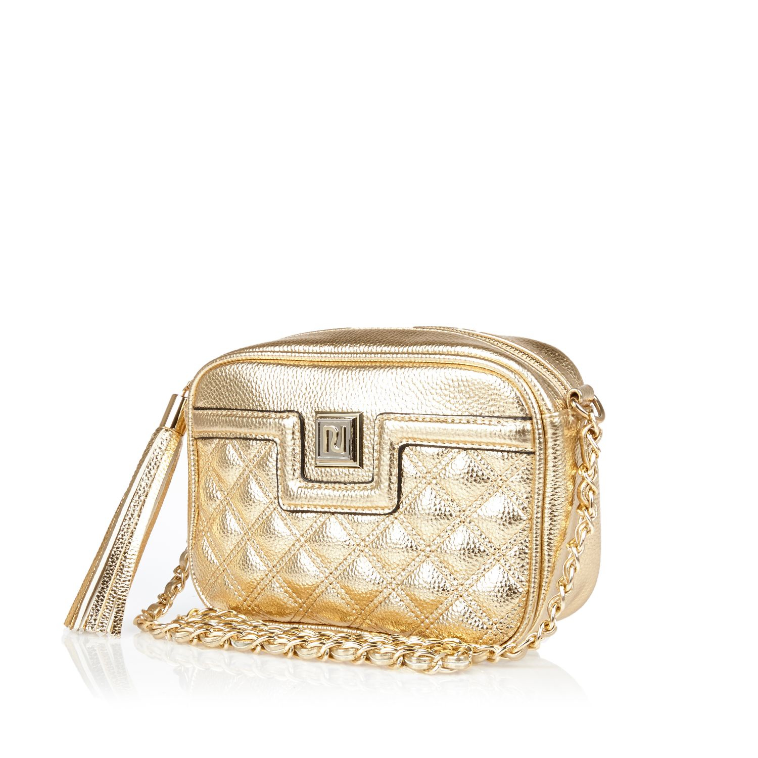 River Island Gold Metallic Quilted Cross Body Bag In
