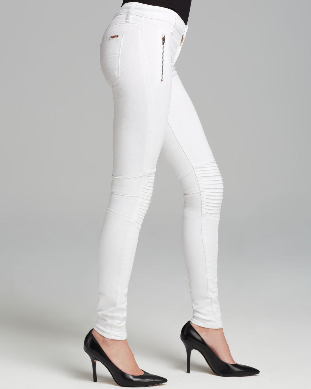 Hudson jeans Jeans Stark Moto Skinny in White in White | Lyst