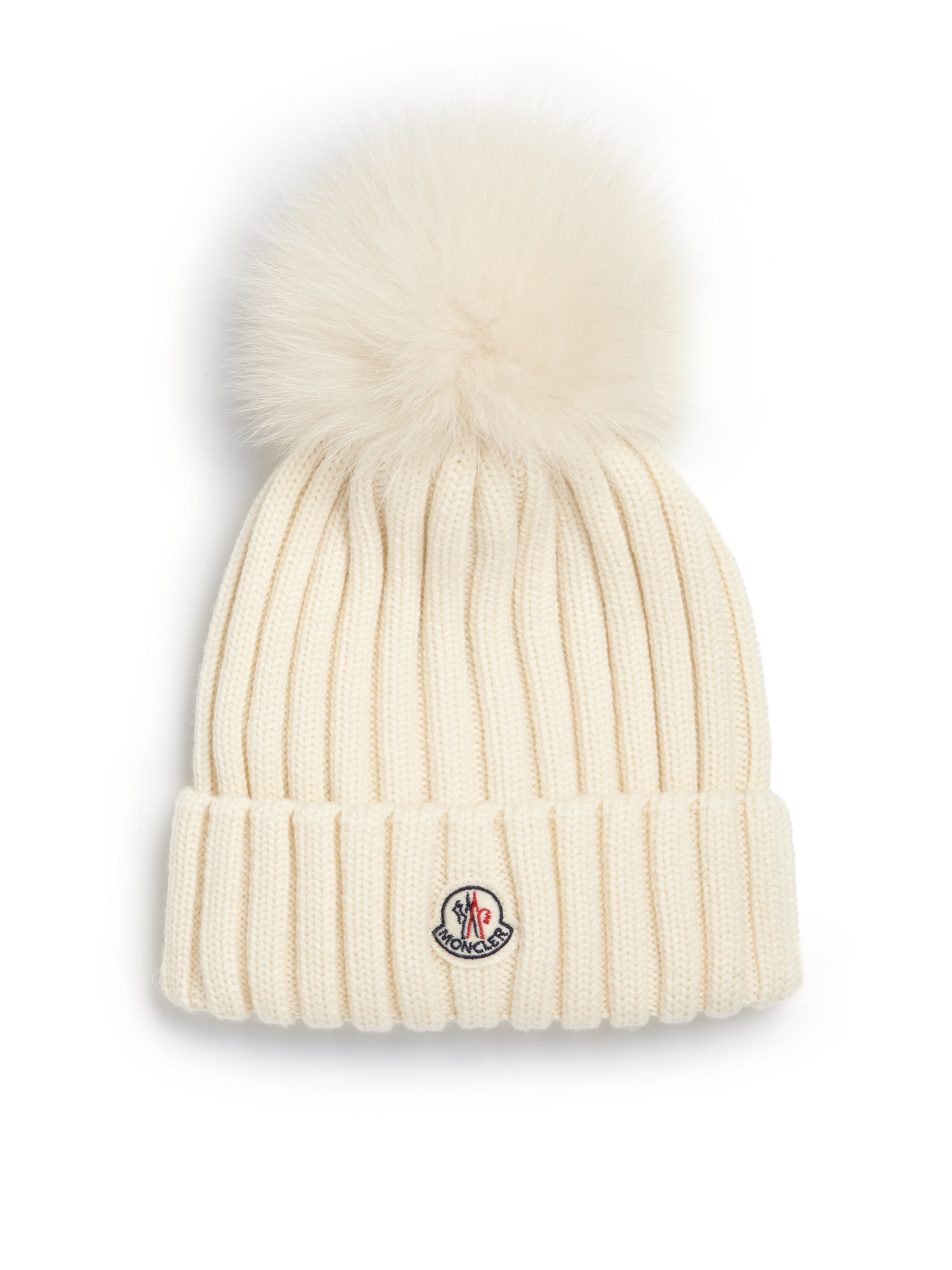 Lyst - Moncler Fur Pom-pom Ribbed Wool Hat in White 43f82df1b5