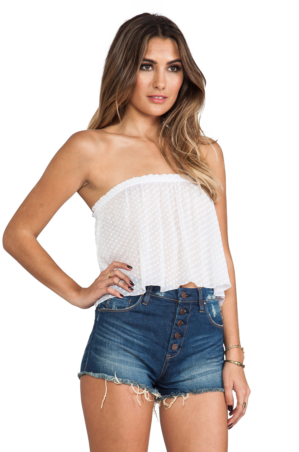 Indah star strapless tube top in white lyst for Tube top pictures