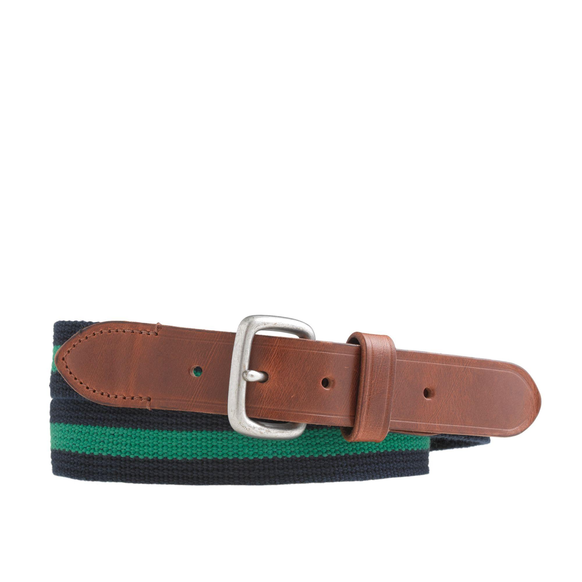 j crew stripe web belt in brown for lyst