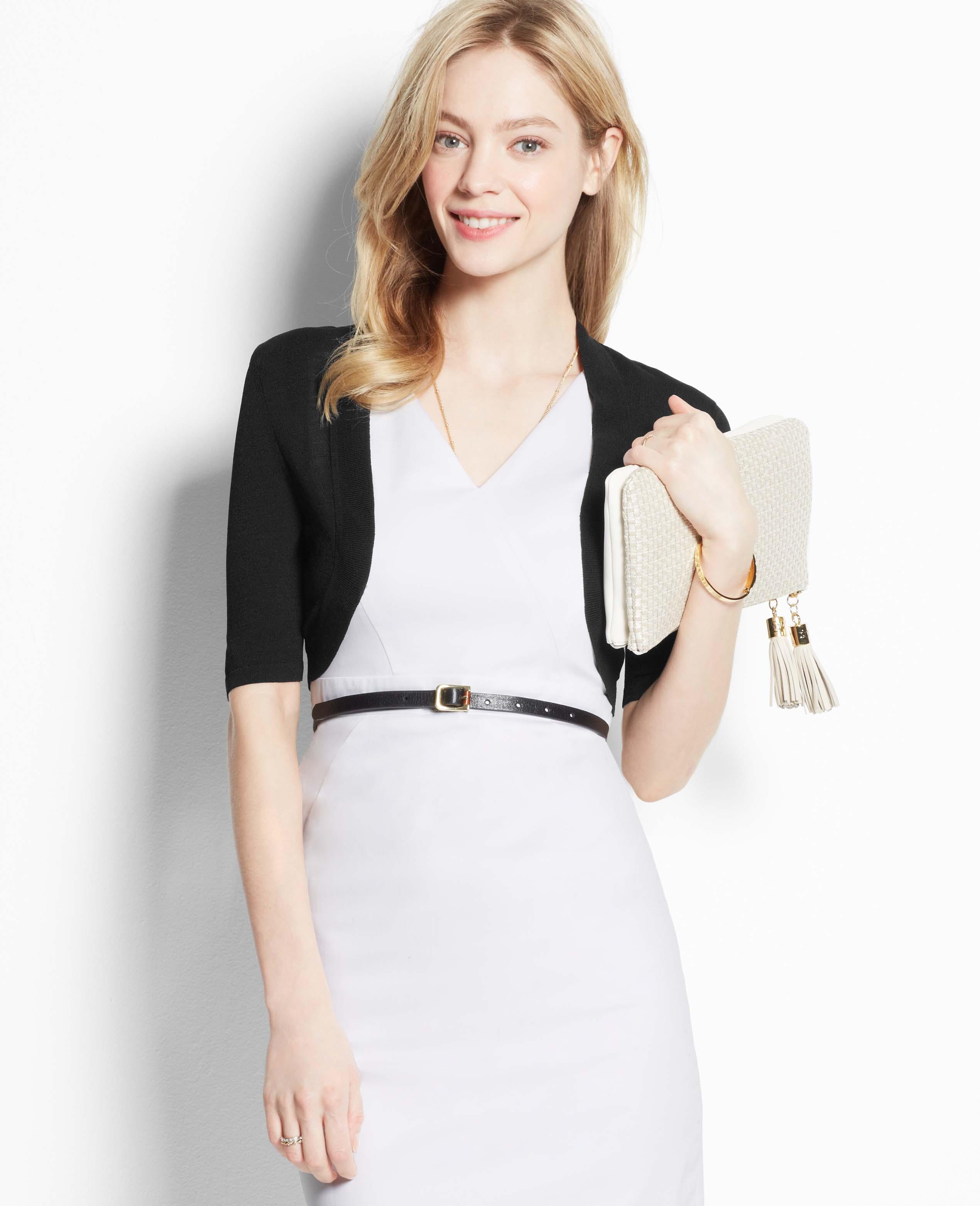 Lyst Ann Taylor Short Sleeve Dress Shrug In Black