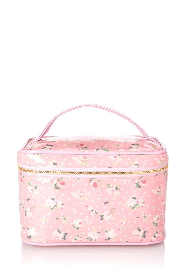 6b1578225b70 Lyst - Forever 21 Mod Floral Travel Cosmetic Case in Pink