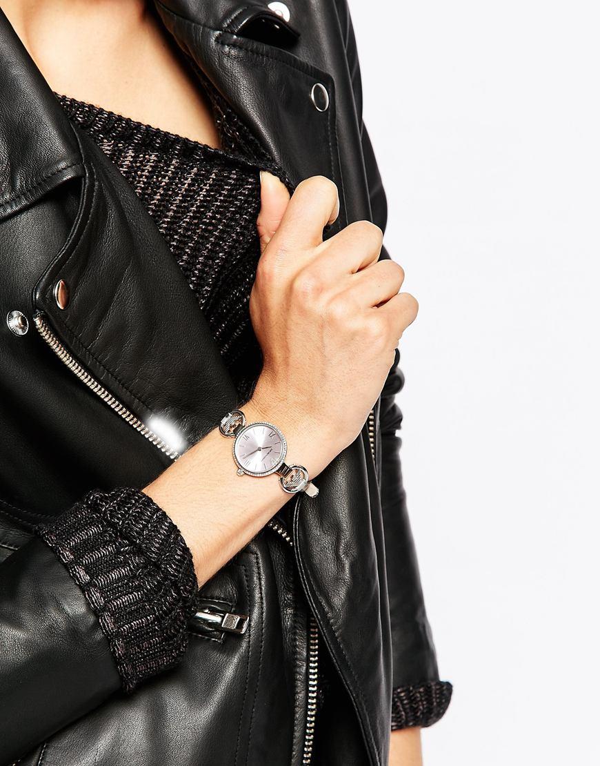 Emporio Armani Ganni Logo T Bar Silver Watch In Metallic