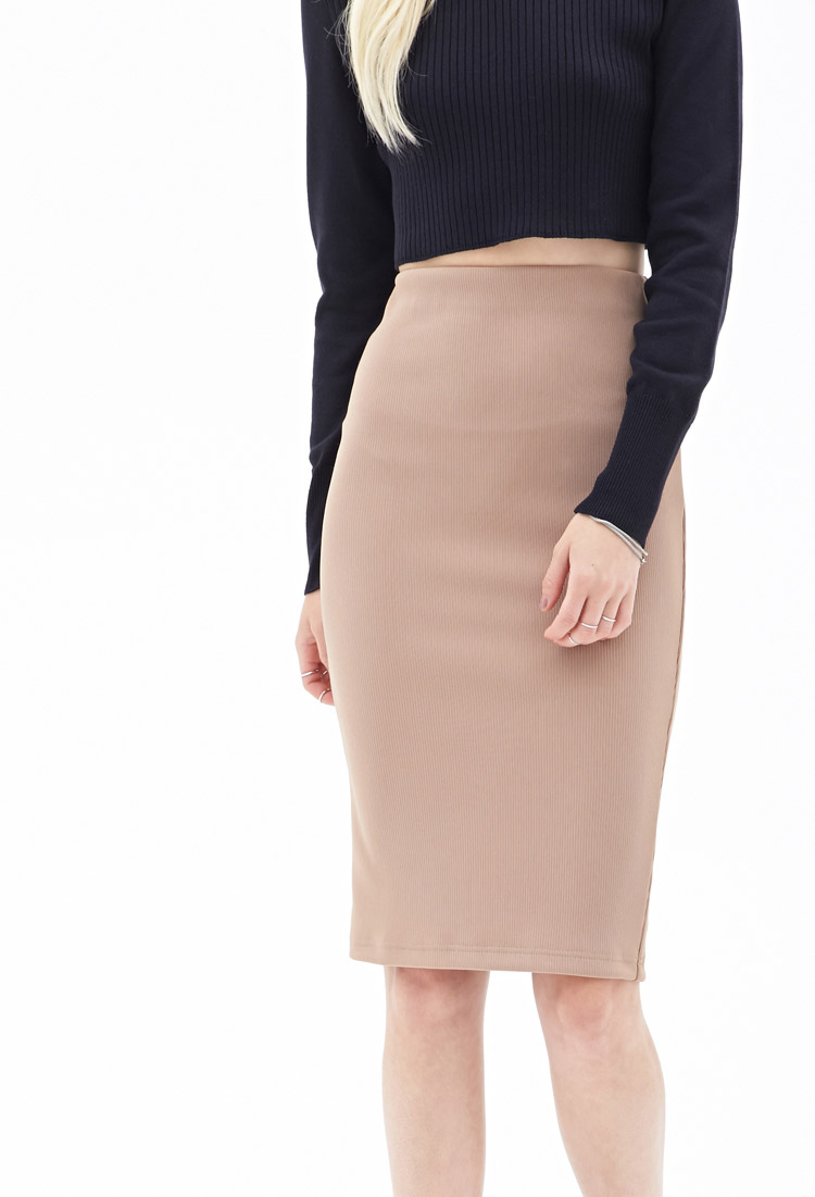 1a35d91cf Forever 21 Ribbed Pencil Skirt in Natural - Lyst