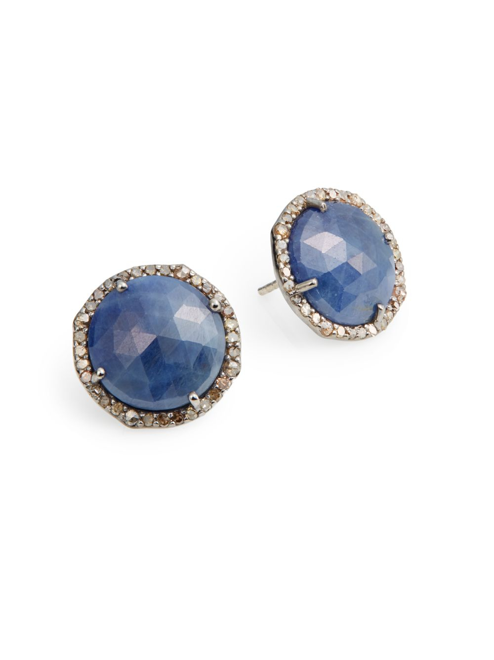 bavna jewelry bavna sapphire sterling silver button earrings 7739